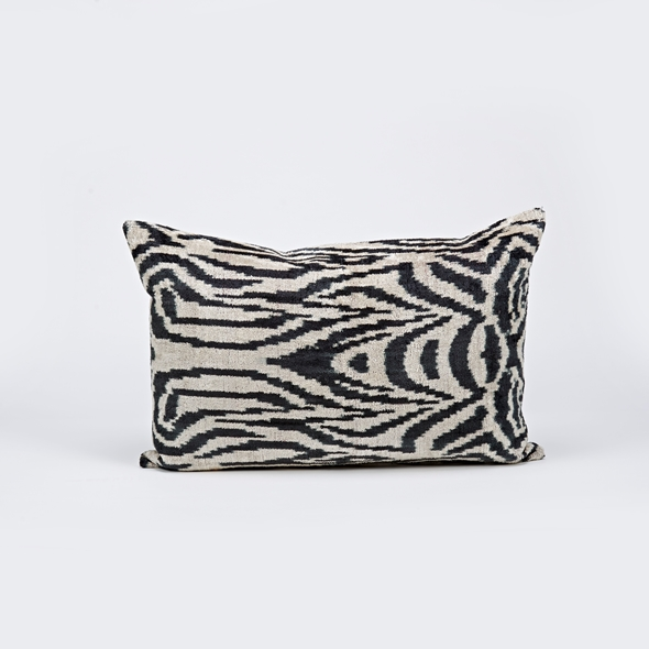 "#27770 Ikat Pillow - 13"" x 25"" - Black"