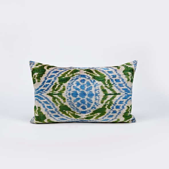 "#27771 Ikat Pillow - 13"" x 25"" - Blue"