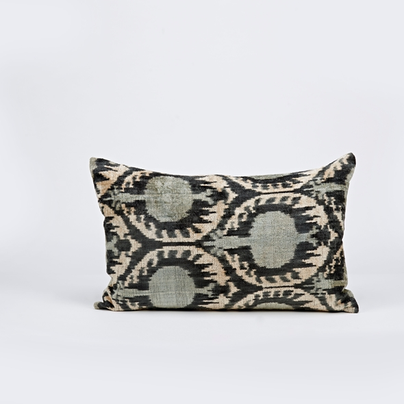 "#27772 Ikat Pillow - 13"" x 25"" - Gray"