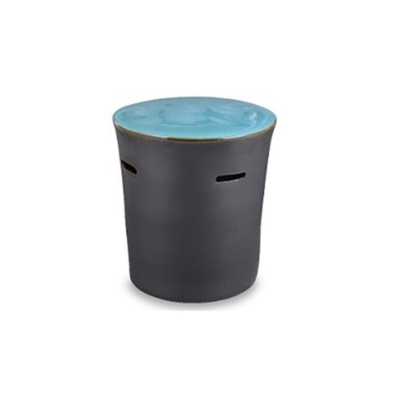 "#26605 20"" x 18""  Bodrum Drum Table Turquoise Blue Top - Matte Black Base"
