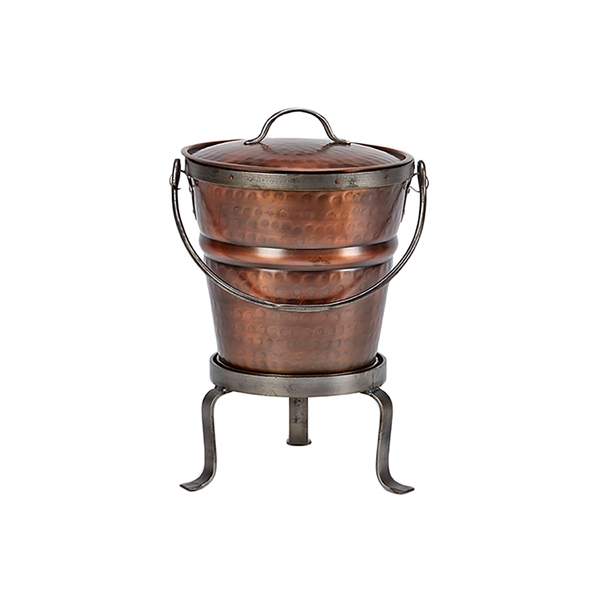 #26002 Round Ash Bucket with Lid and Stand