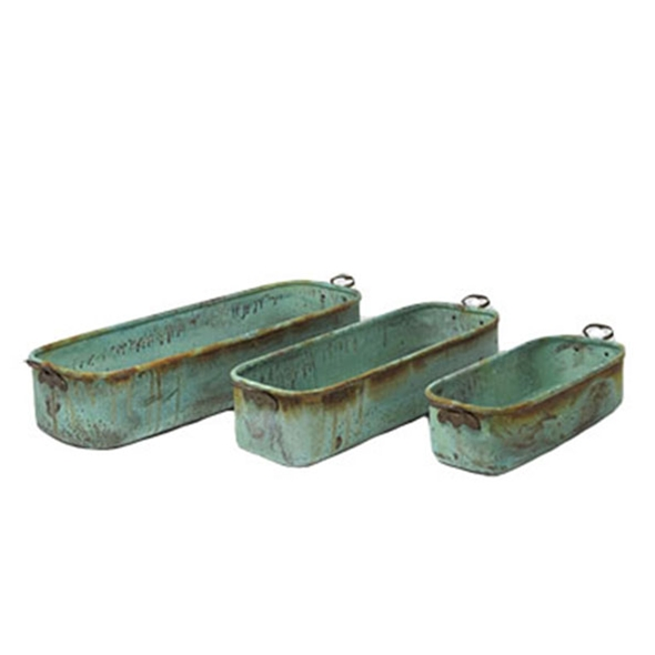 #24335 Verdigris Planters with Handles - Set of 3
